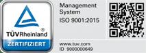 Bestätigung der Zertifizierung nach ISO 9001:2015 vom TÜV Rheinland.